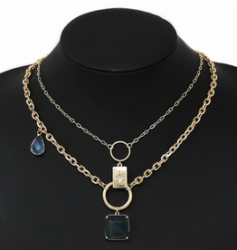 Blue Suede Jewels Natural Stone Pendant Layered Necklace