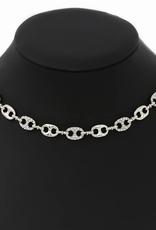 Blue Suede Jewels Rhinestone Pave Mariner Link Short Necklace