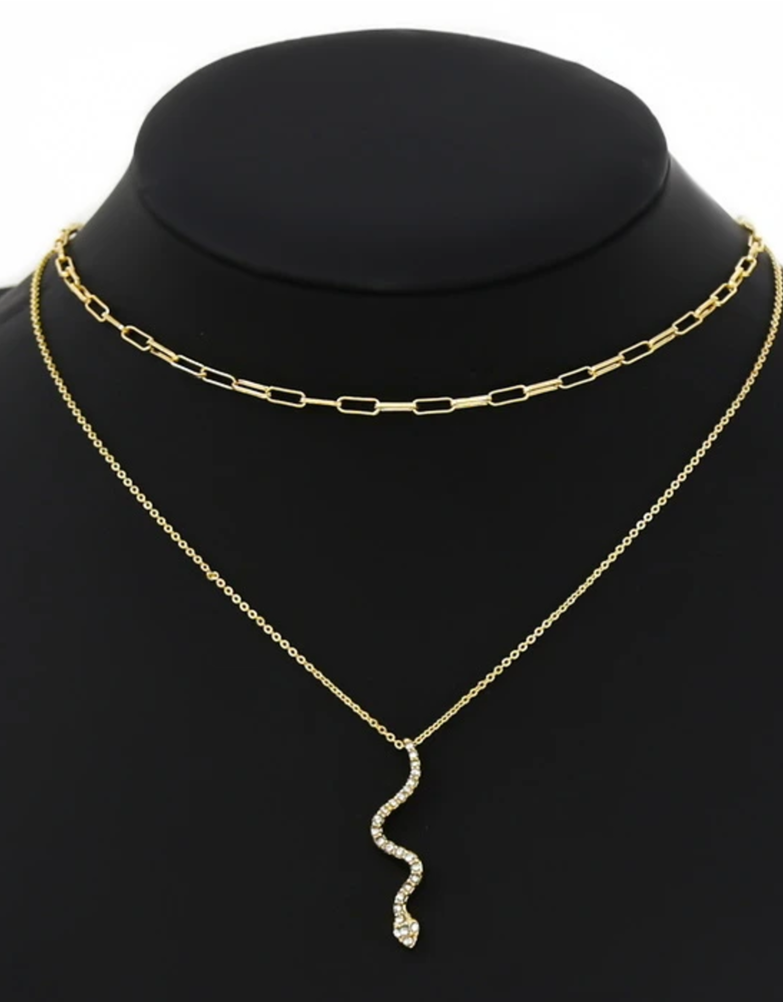 Blue Suede Jewels Rhinestone Snake  Necklace