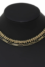 Blue Suede Jewels Metal Beaded Layered Chain Necklace