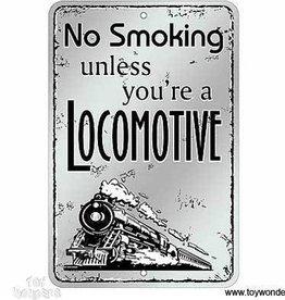 No Smoking Locomotive Metal Sign