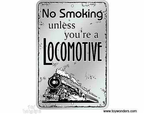 No Smoking Locomotive Metal Sign