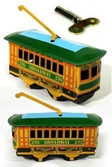 Tin Toy Arcade Broadway New York Trolley Tin Wind Up