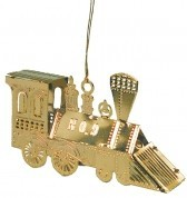 Brass Christmas Train Number 9 Ornament