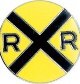 RR Crossing Large Round Hat Tack (pin)
