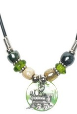 Train Disk w/ Glass Beads Necklace - asst. colors - Discontinued