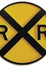 Round Yellow Rail Road Crossing Magnet