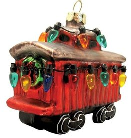 Glass Holiday Caboose Ornament