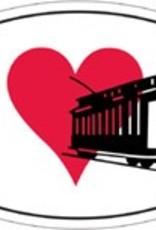 Euro Sticker - I Love Trolleys - Oval