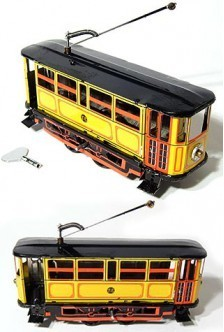 Yellow Electric Trolley Tin Toy