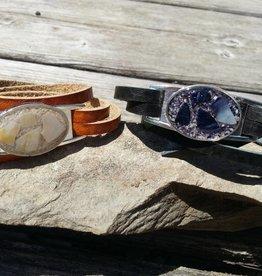 Maine Shellware Leather Wrap Bracelet - Seashell