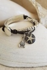 Beaded Leather & Silver Bracelet with Starfish