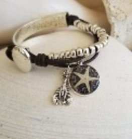 Maine Shellware Beaded Leather & Silver Bracelet with Starfish