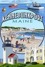 Lantern Press 4 x 6 Kennebunkport Post Card - Montage Single
