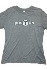 Adult Boston T logo T-Shirt Women's Gray X-Large