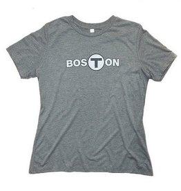 Adult Boston T logo T-Shirt Women's Gray Small