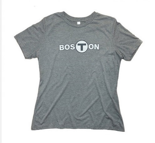 Adult Boston T logo T-Shirt Women's Gray Small