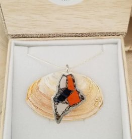 """State of Maine Seashell / Abalone 18"""" Pendant w/ Chain"""