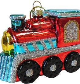 Glass Red Engine Ornament