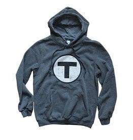 Adult T Logo Hoodie Sweatshirt - Charcoal Grey