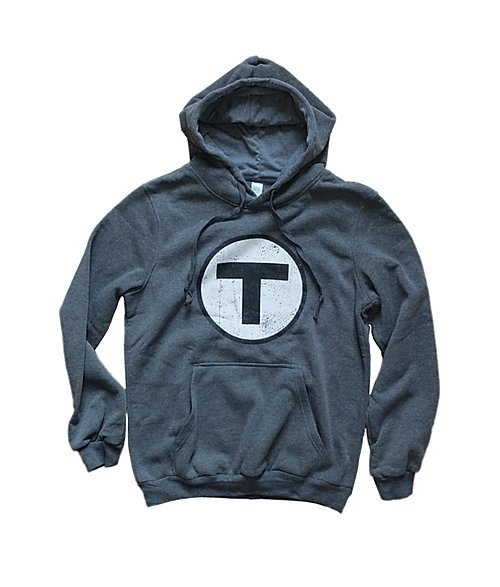 Adult T Logo Hoodie Sweatshirt - Heather Grey