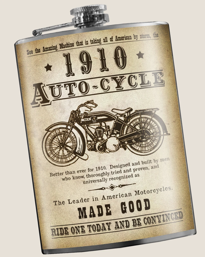 Autocycle Vintage Motorcycle Flask