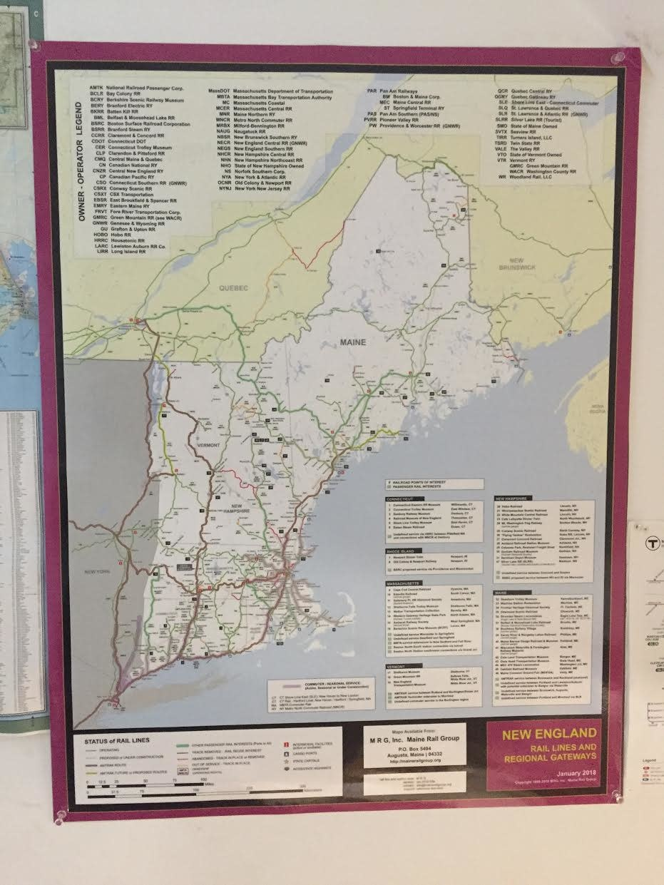New England Rail Lines Map 2020