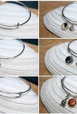 Maine Shellware Silver Plated Charm Bangle Bracelet - Seashells