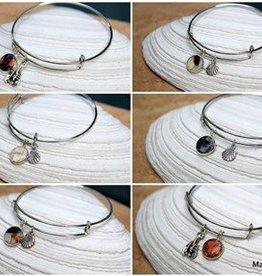 Silver Plated Charm Bangle Bracelet - Seashells