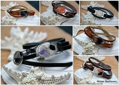 Leather Wrap Bracelet - Seashell