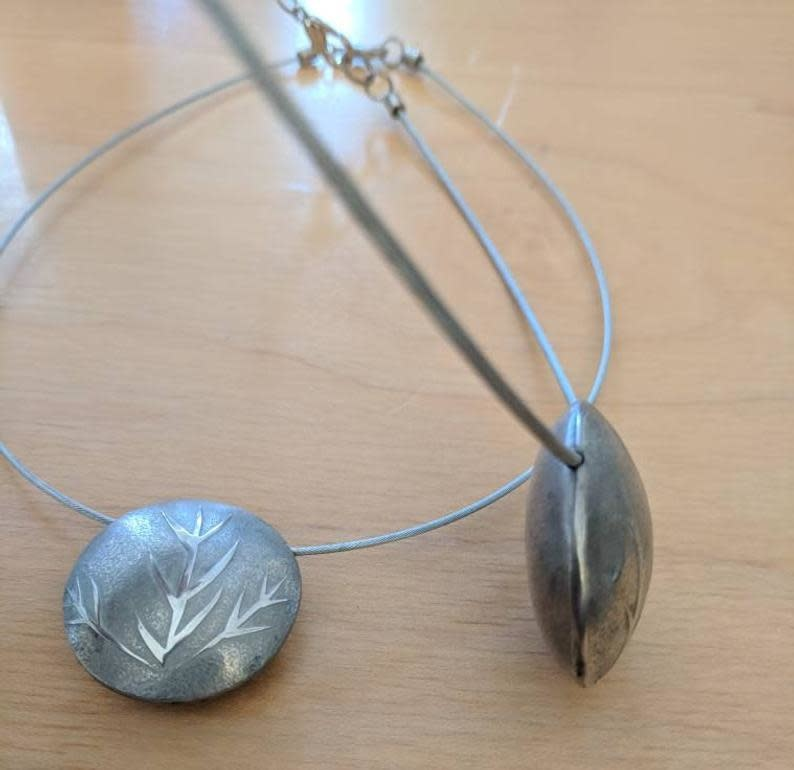 Pewter Bead & Brake Cable Necklace