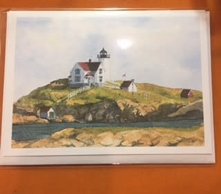 Bella Terra Maps Cape Neddick Nubble Lighthouse Note Card