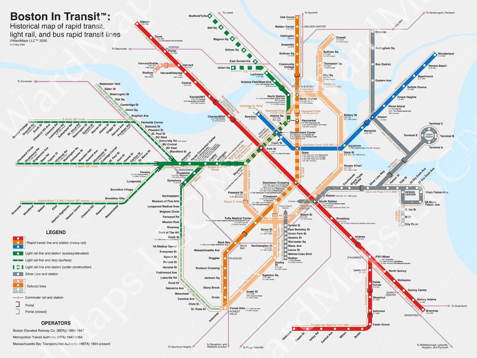 Boston in Transit - The Map!  Historial Boston MBTA Transit Map