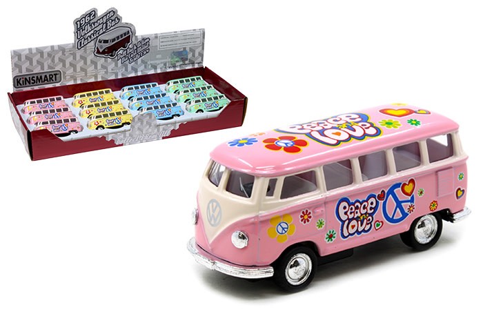 "Kinsmart 1962 VW Bus Peace & Love  2.5"" Pastel"