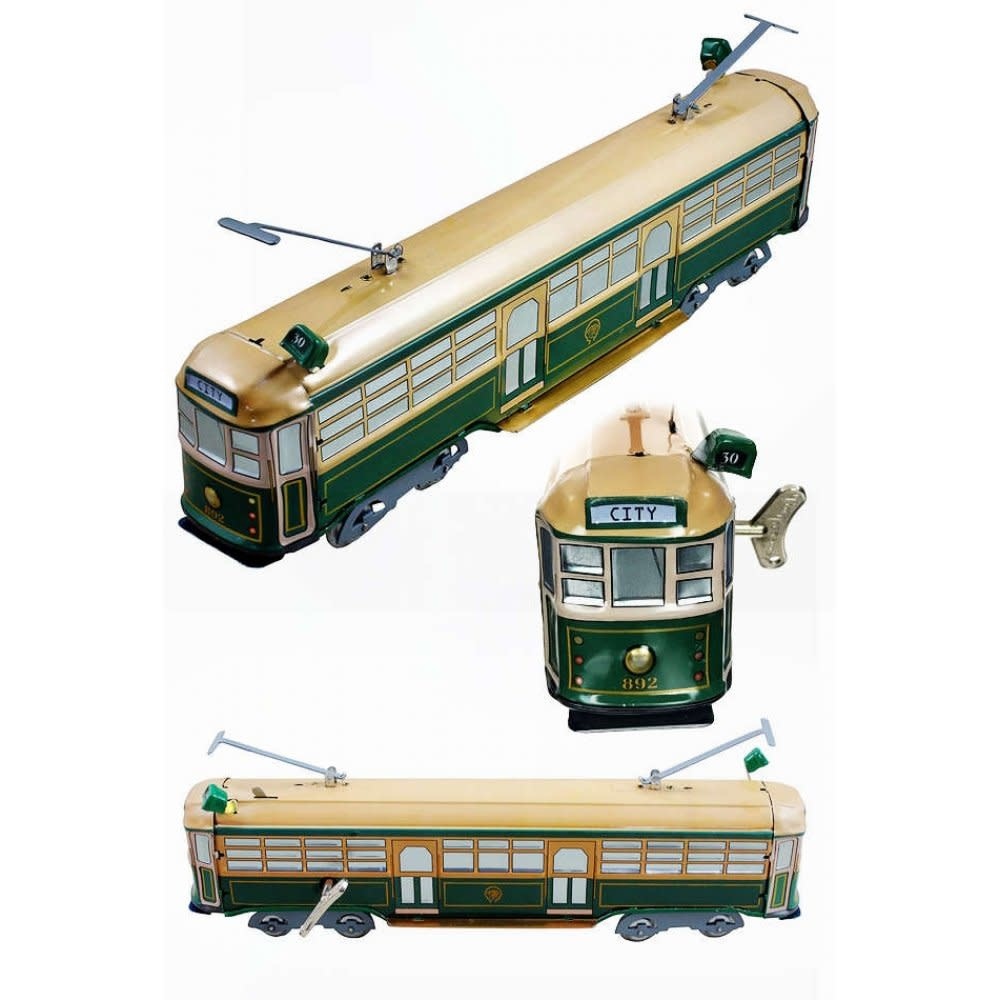 Tin Toy Arcade Train Tram Melbourne Australia Green Tin Toy