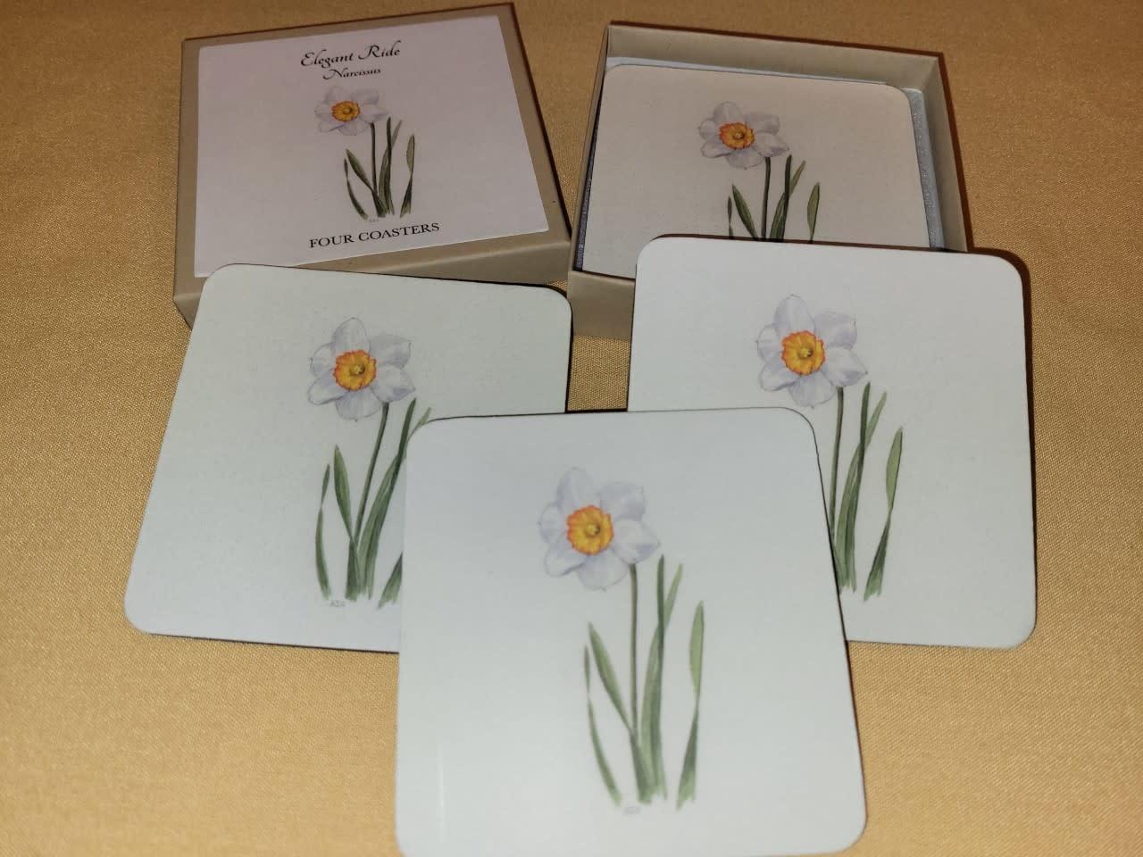 Narcissus Set of 4 PVC Lamintaed Felt Bottom Coasters