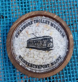 Maine Shellware Round Wooden Custom STM Coasters