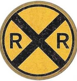 Railroad Crossing Tin Distressed Sign