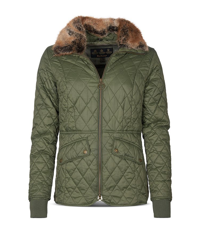 Barbour W's Hawthorns Faux Fur Trim Quilted Jacket
