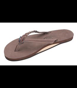 """Rainbow Sandals W's Flirty Braidy-Single Layer Premier Leather 1/2"""" Narrow Strap w/Braid"""