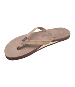 Rainbow Sandals W's Single Layer Premier Leather w/Arch Support and Narrow Strap