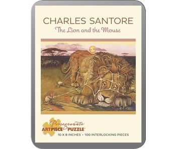 POMEGRANATE ARTPIECE PUZZLE 100 PIECE: CHARLES   SANTORE THE LION AND THE MOUSE