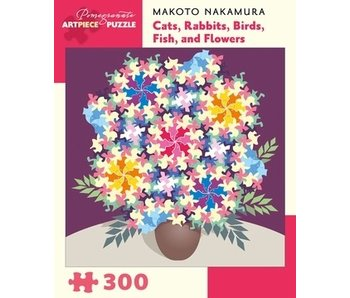POMEGRANATE POMEGRANATE ARTPIECE PUZZLE 300 PIECE: NAKAMURA CATS, RABBITS, BIRDS, FISH & FLOWERS