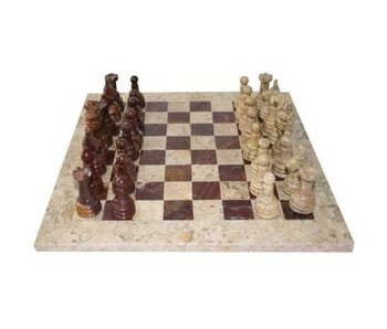 CHESS SET: FOSSIL MARBLE & BLACK ONYX