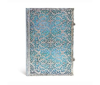 PAPERBLANKS JOURNAL 8x12 UNLINED HC SILVER FILIGREE MAYA BLUE