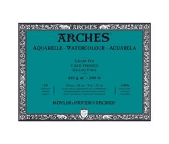 ARCHES WATERCOLOUR 10 Sheet BLOCK COLD PRESS CP 300LB 9x12 -