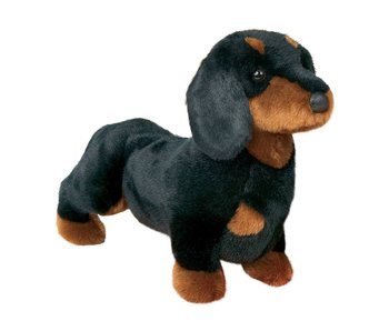 DOUGLAS CUDDLE TOY PLUSH SPATS BLK/TAN DACHSHUND DOG