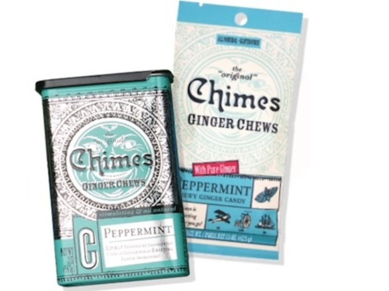 CHIMES GINGER CHEWS CANDY MINI BAG PEPPERMINT