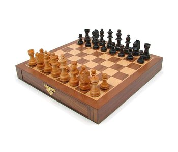 "1 IN 3 CHESS SET 13"" WALNUT BOOK STYLE"