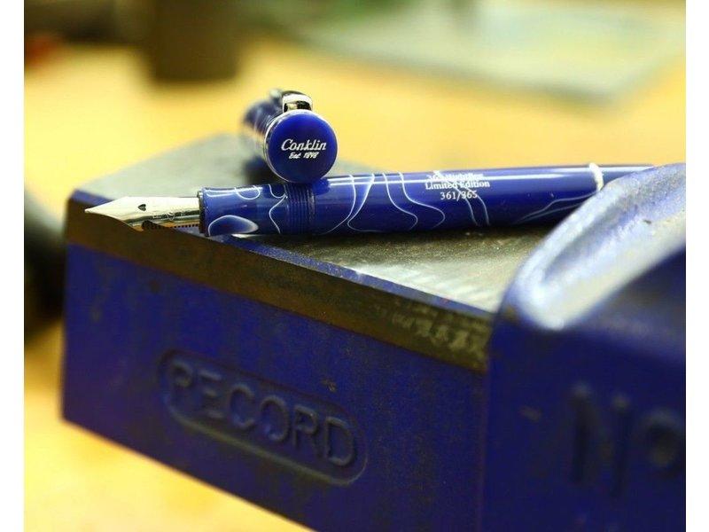 CONKLIN FOUNTAIN PEN OMNIFLEX NIGHTFLEX BLUE WITH WHITE VEINS LIMITED EDITION